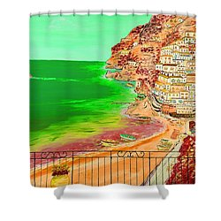 Shower Curtain featuring the painting Positano Bay by Loredana Messina