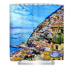 Shower Curtain featuring the painting Positano by Hanne Lore Koehler