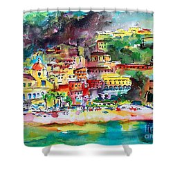 Amalfi Coast Positano Summer Fun Watercolor Painting Shower Curtain by Ginette Callaway