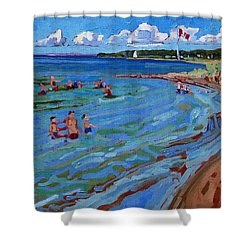 Positively Buoyant Beach People Shower Curtain by Phil Chadwick