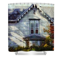 Shower Curtain featuring the photograph Postage Due - Farmhouse Window by Janine Riley