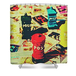 Shower Curtain featuring the photograph Postage Pop Art by Jorgo Photography - Wall Art Gallery