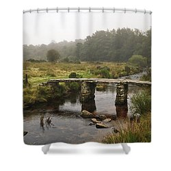 Shower Curtain featuring the photograph Postbridge Clapper Bridge In Dartmoor  by Shirley Mitchell