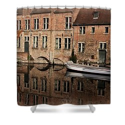 Postcard Canal II Shower Curtain by Joan Carroll