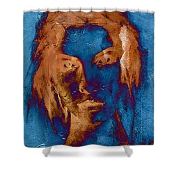 Posterized Portrait Shower Curtain by Andrea Barbieri