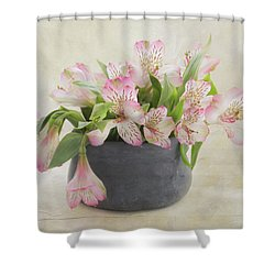 Shower Curtain featuring the photograph Pot Of Pink Alstroemeria by Kim Hojnacki