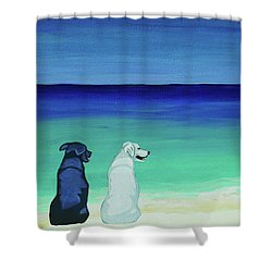 Lab Potcake Dogs On The Beach Shower Curtain