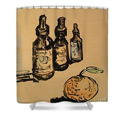 Shower Curtain featuring the painting Potions by Maria Langgle