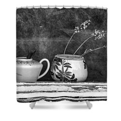 Shower Curtain featuring the photograph Pots On Windowsill by Betty Denise