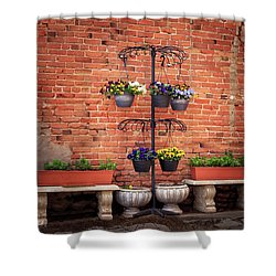 Shower Curtain featuring the photograph Potted Plants And A Brick Wall by James Eddy