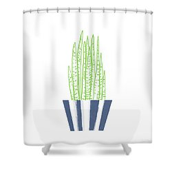 Shower Curtain featuring the mixed media Potted Succulent 3- Art By Linda Woods by Linda Woods
