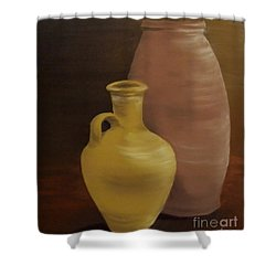 Shower Curtain featuring the painting Pottery by Annemeet Hasidi- van der Leij