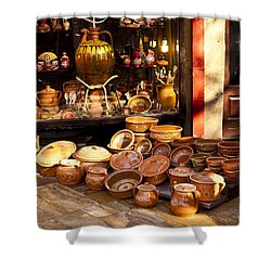 Pottery In The Bazaar Shower Curtain by Rae Tucker