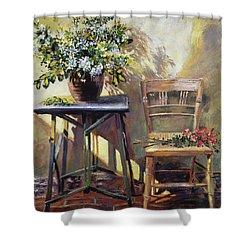 Pottery Maker's Table Shower Curtain