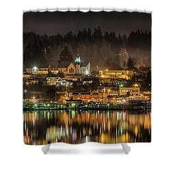 Poulsbo Waterfront 5 Shower Curtain by Wally Hampton