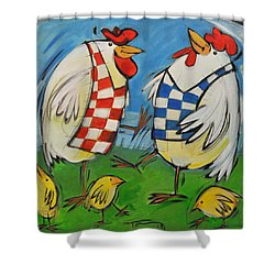 Poultry In Motion Shower Curtain by Tim Nyberg