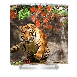 Shower Curtain featuring the painting Pounce by Judy Kay