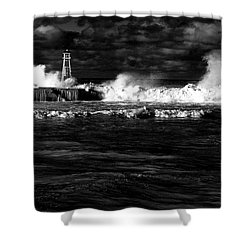 Shower Curtain featuring the photograph Pounding The Breakwater by Nareeta Martin