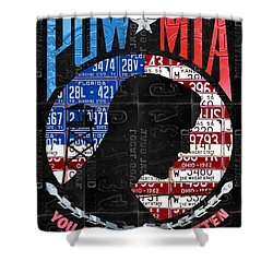 Pow Mia You Are Not Forgotten Recycled Vintage American License Plate Art Shower Curtain