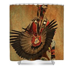 Shower Curtain featuring the mixed media Pow Wow 2 by Jim  Hatch
