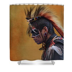 Shower Curtain featuring the mixed media Pow Wow by Jim  Hatch