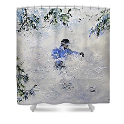 Shower Curtain featuring the painting Powder Hound by Ken Ahlering