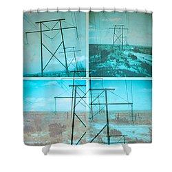 Shower Curtain featuring the digital art Power Line Patriots by Bartz Johnson