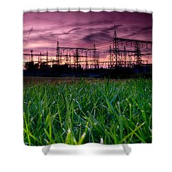 Power Lines Sunset Shower Curtain by Cale Best