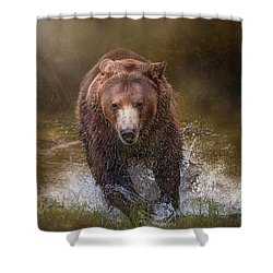 Shower Curtain featuring the digital art Power Of The Grizzly by Nicole Wilde