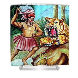 Shower Curtain featuring the painting The Beast Of Beasts by Ragunath Venkatraman