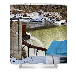 Power Station Falls On Black River Two Shower Curtain