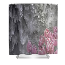 Powerful And Gentle Waterfall Art  Shower Curtain by Valerie Garner