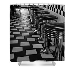 Power's Diner Port Huron Bw Shower Curtain by Mary Bedy