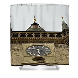Shower Curtain featuring the digital art Prague-architecture 2 by Leo Symon