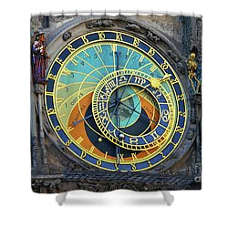 Prague Astronomical Clock Shower Curtain by Mariola Bitner