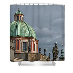 Shower Curtain featuring the photograph Prague Church Dome by Stuart Litoff