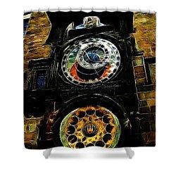 Prague Clock Shower Curtain by Joan  Minchak