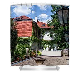 Shower Curtain featuring the photograph Prague Courtyards. Old Lantern by Jenny Rainbow