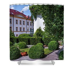 Shower Curtain featuring the photograph Prague Courtyards. Regular Style Garden by Jenny Rainbow
