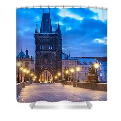 Prague In Blue Shower Curtain