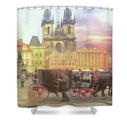 Prague Old Town Square Shower Curtain