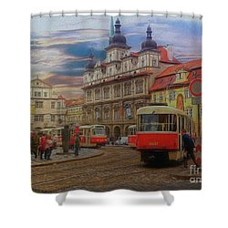Prague, Old Town, Street Scene Shower Curtain