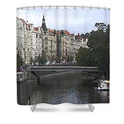 Prague River Shower Curtain by Haleh Mahbod