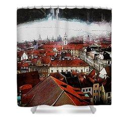 Shower Curtain featuring the painting Prague Skyline by Kai Saarto