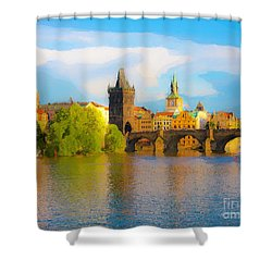 Praha - Prague - Illusions Shower Curtain