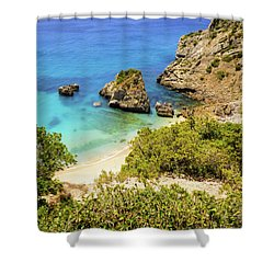 Praia Da Ribeira Do Cavalo In Sesimbra, Portugal Shower Curtain