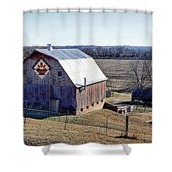 Shower Curtain featuring the photograph Prairie Flower Quilt Barn by Cricket Hackmann