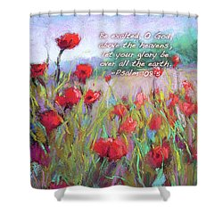 Praising Poppies With Bible Verse Shower Curtain