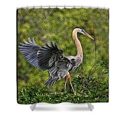 Shower Curtain featuring the photograph Prancing Heron by Shari Jardina