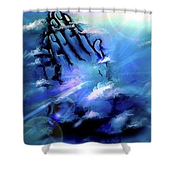 Shower Curtain featuring the digital art Pray by Darren Cannell